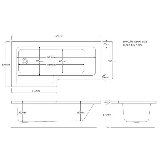 Artesan Eco Cube L Shaped Shower Bath - 1675 mm x 700 mm