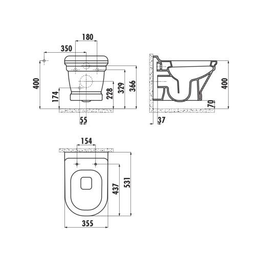 Creavit Antik Wall Hung Combined Bidet Toilet - Anthracite Matt