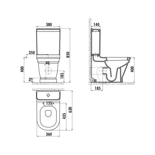 Creavit Antik Close Coupled Combined Bidet Toilet