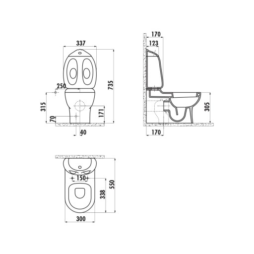 Creavit Ducky Close Coupled Combined Bidet Toilet