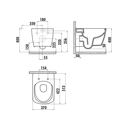 Creavit Elegant Rimless Wall Hung Combined Bidet Toilet