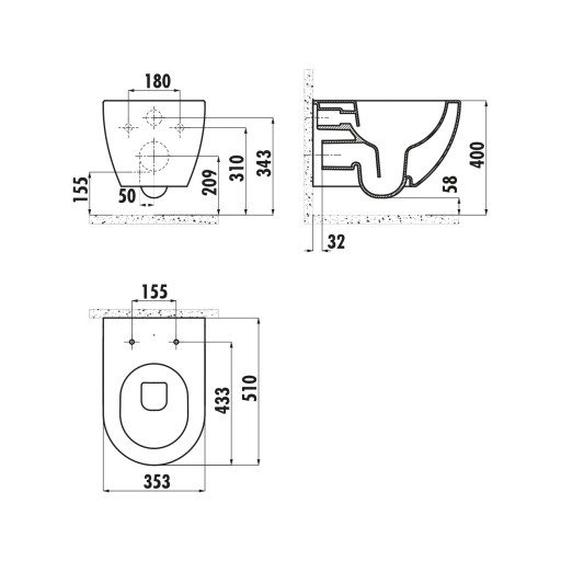 Creavit Free Rimless Wall Hung Combined Bidet Toilet