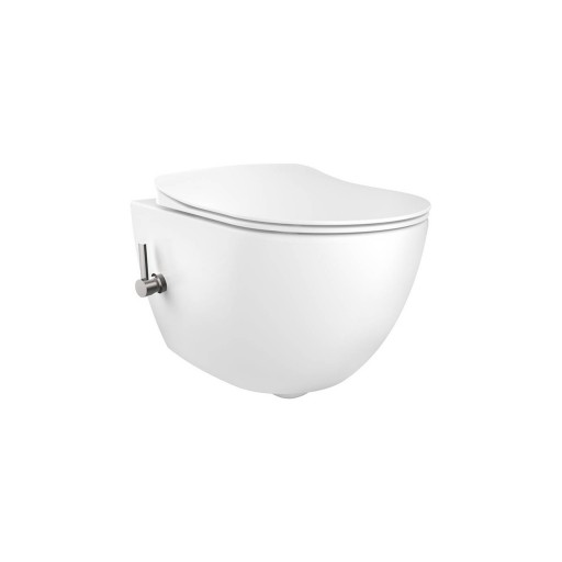 Creavit Free Rimless Wall Hung Combined Bidet Toilet - Integrated Hot & Cold On/Off Valve
