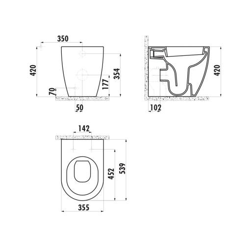 Creavit Free Back to Wall Combined Bidet Toilet