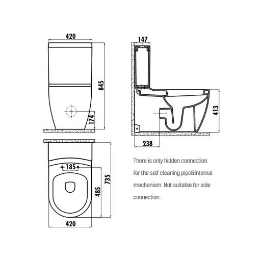 Creavit Grande XXL Close Coupled Combined Bidet Toilet