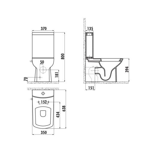 Creavit Lara Close Coupled Combined Bidet Toilet - Integrated On/Off Valve