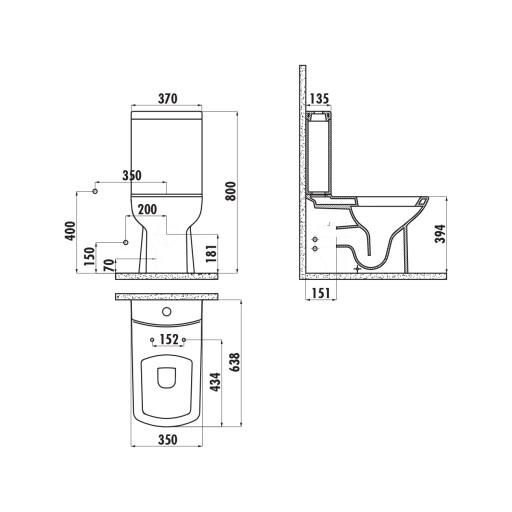 Creavit Lara Close Coupled Combined Bidet Toilet - Red