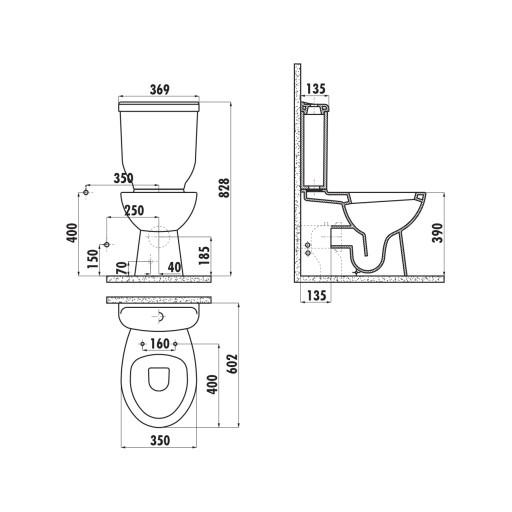 Creavit Sedef Close Coupled Combined Bidet Toilet