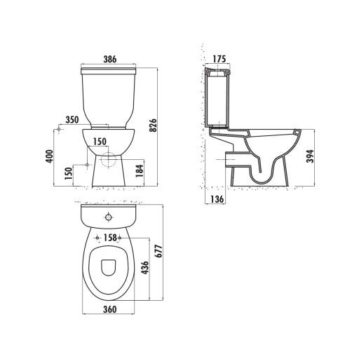Creavit Sedef Close Coupled Combined Bidet Toilet - Open Back
