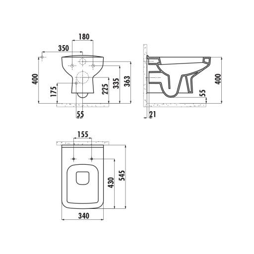 Creavit Straight Wall Hung Combined Bidet Toilet