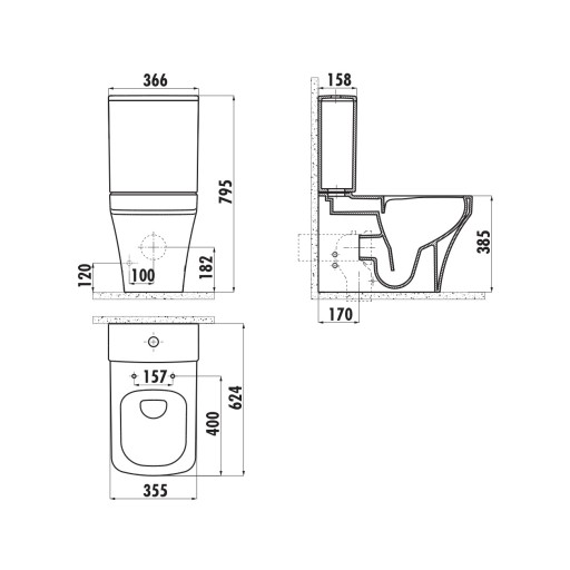 Creavit Solo Rimless Close Coupled Combined Bidet Toilet