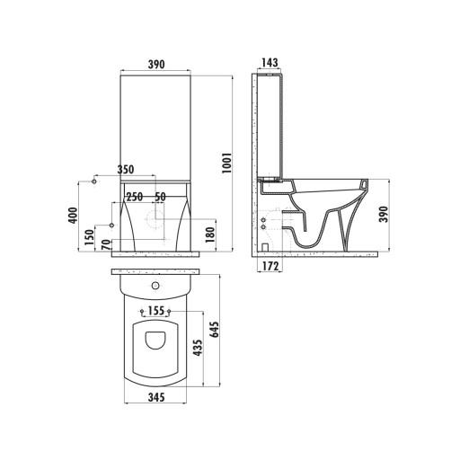 Creavit Sorti Close Coupled Combined Bidet Toilet