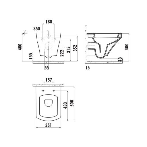 Creavit Sorti Wall Hung Combined Bidet Toilet