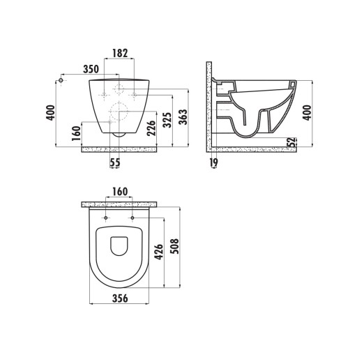Creavit Terra Wall Hung Combined Bidet Toilet - Red