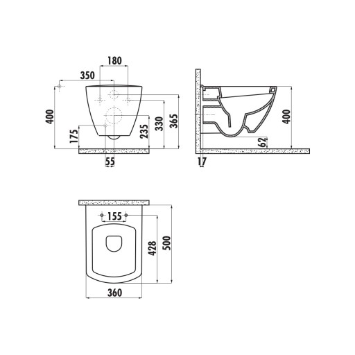 Creavit Tetra Wall Hung Combined Bidet Toilet