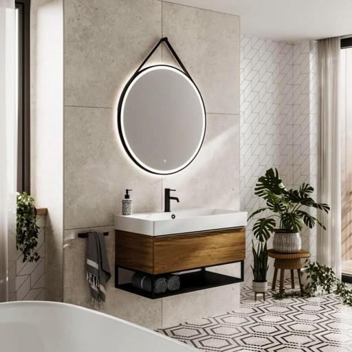 HiB Solstice 80 Black LED Illuminated Bathroom Mirror - 800MM