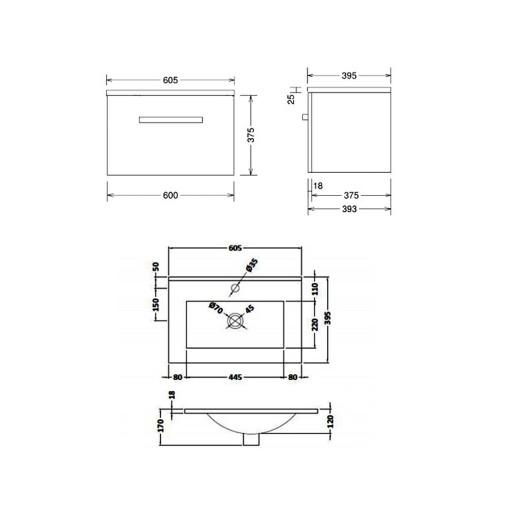 Lecico Carlton Single Drawer Wall Hung Vanity Unit & Basin - 600MM - Gloss Grey