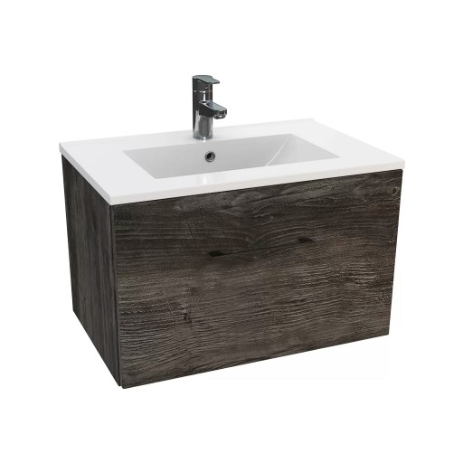 Lecico Carlton Single Drawer Wall Hung Vanity Unit & Basin - 600MM - Driftwood