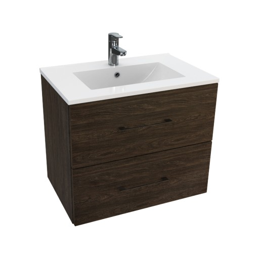 Lecico Carlton Double Drawer Wall Hung Vanity Unit & Basin - 600MM - Dark Elm