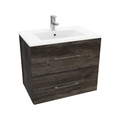 Lecico Carlton Double Drawer Wall Hung Vanity Unit & Basin - 600MM - Driftwood