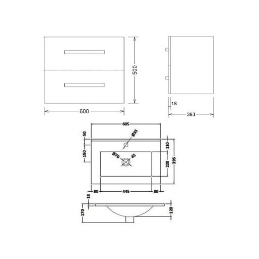 Lecico Carlton Double Drawer Wall Hung Vanity Unit & Basin - 600MM - Driftwood