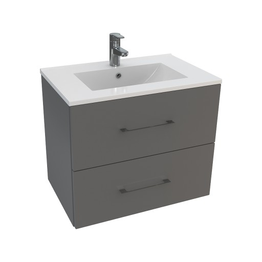 Lecico Carlton Double Drawer Wall Hung Vanity Unit & Basin - 600MM - Gloss Grey