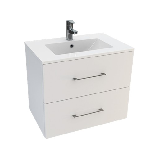 Lecico Carlton Double Drawer Wall Hung Vanity Unit & Basin - 600MM - Gloss White