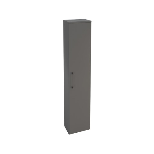 Lecico Carlton Single Door Tall Wall Hung Storage Unit - Gloss Grey
