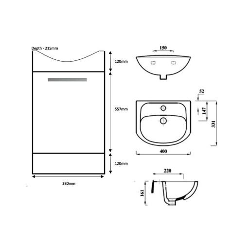 Lecico Lima Single Door Vanity Unit & Basin - 400MM - Whitewood