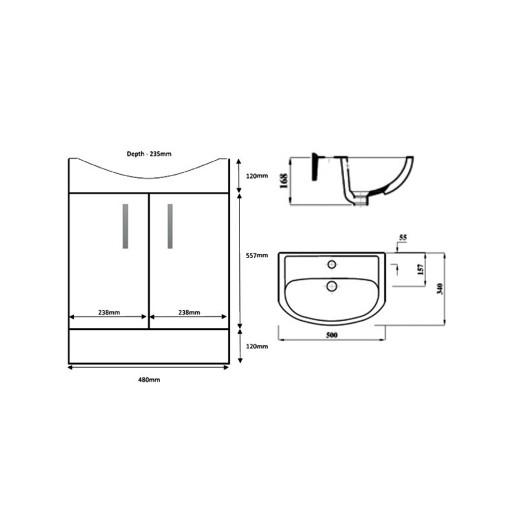 Lecico Lima Double Door Vanity Unit & Basin - 500MM - Stone Ash