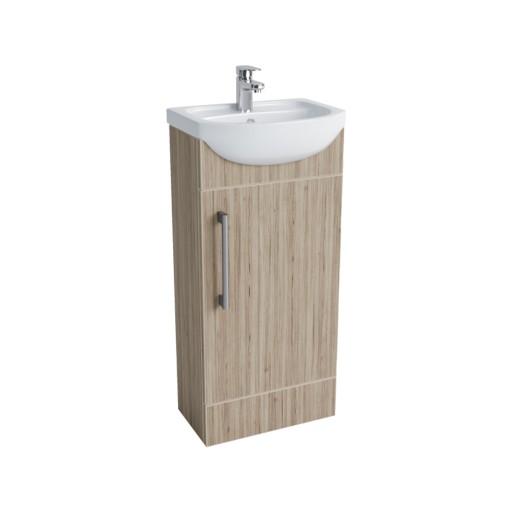 Lecico Lima Single Door Vanity Unit & Basin - 400MM - Stone Ash