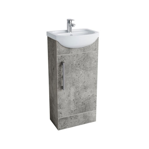 Lecico Lima Single Door Vanity Unit & Basin - 400MM - Concrete
