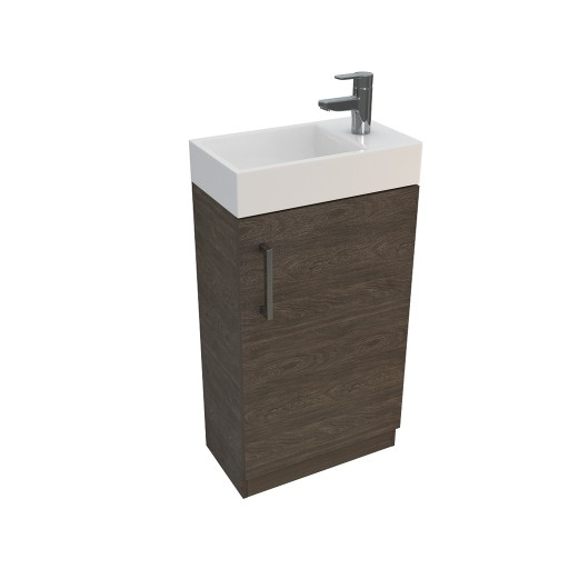 Lecico Linton Single Door Wall Hung Vanity Unit & Basin - 450MM - Dark Elm