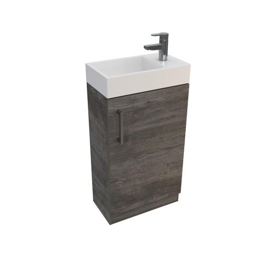 Lecico Linton Single Door Wall Hung Vanity Unit & Basin - 450MM - Driftwood