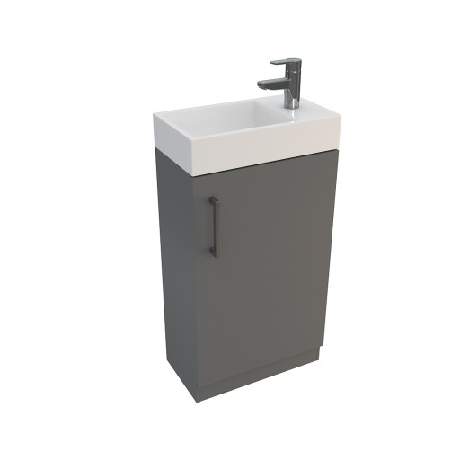 Lecico Linton Single Door Wall Hung Vanity Unit & Basin - 450MM - Gloss Grey