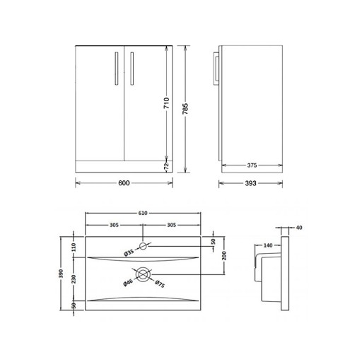 Lecico Linton Double Door Wall Hung Vanity Unit & Basin - 600MM - Gloss Grey