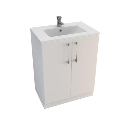 Lecico Linton Double Door Wall Hung Vanity Unit & Basin - 600MM - Gloss White