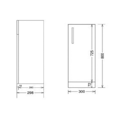 Lecico Stonely Single Door Base Unit - 300MM - Dark Elm