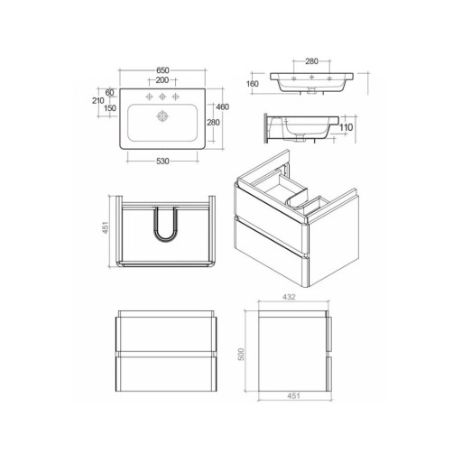 RAK Resort Wall Hung Vanity Unit & Basin - 650MM - Matt White