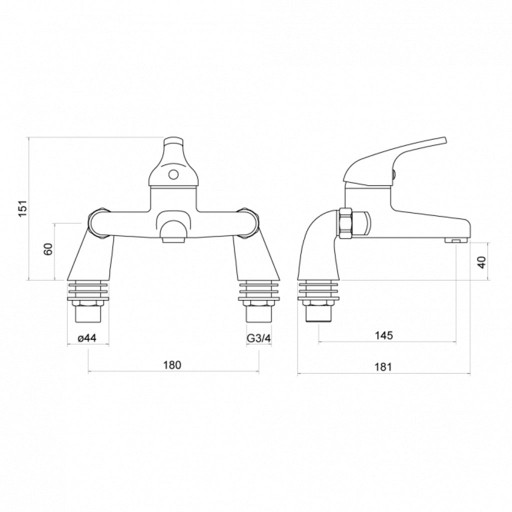 Trisen Ailsa Chrome Bath Shower Mixer + Handset Kit