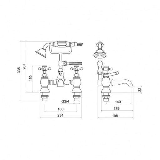 Trisen Formby Chrome Bath Shower Mixer + Handset Kit