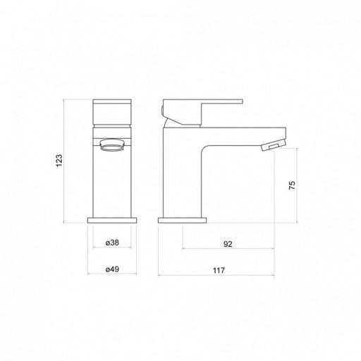 Trisen Kawa Black Mini Single Lever Mono Basin Mixer Tap