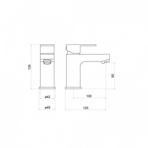 Trisen Kawa Black Single Lever Mono Basin Mixer Tap