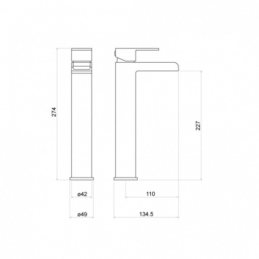 Trisen Warley Chrome Tall Single Lever Mono Basin Mixer Tap