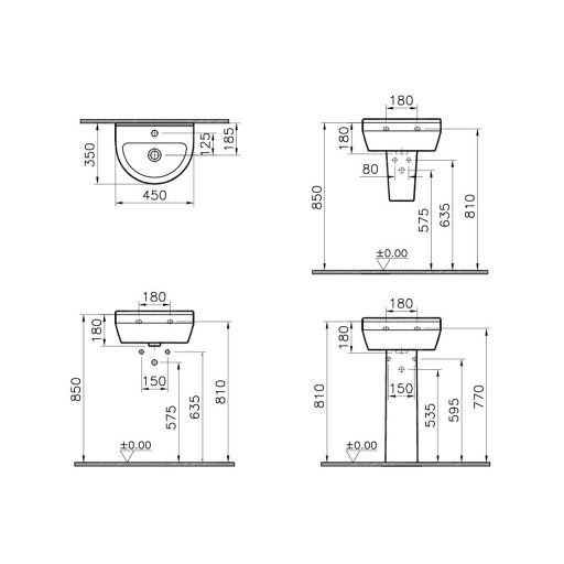 VitrA S50 Round Cloakroom Basin - 450 mm