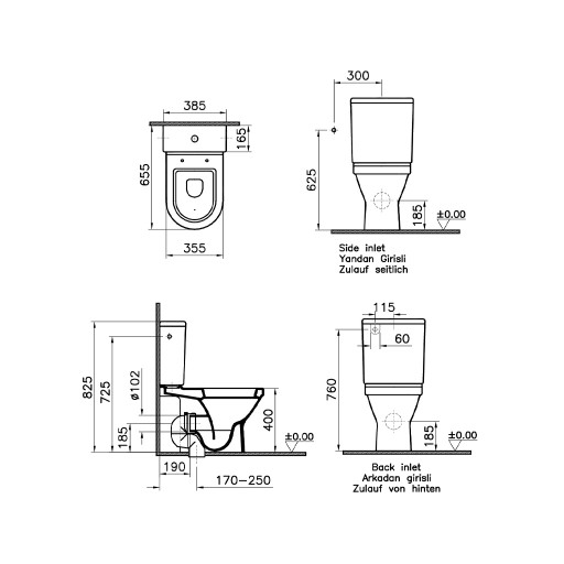 VitrA S50 Close Coupled Toilet - Open Back
