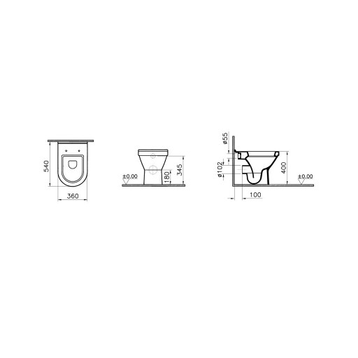 VitrA S50 Back to Wall Toilet - 540 mm Projection