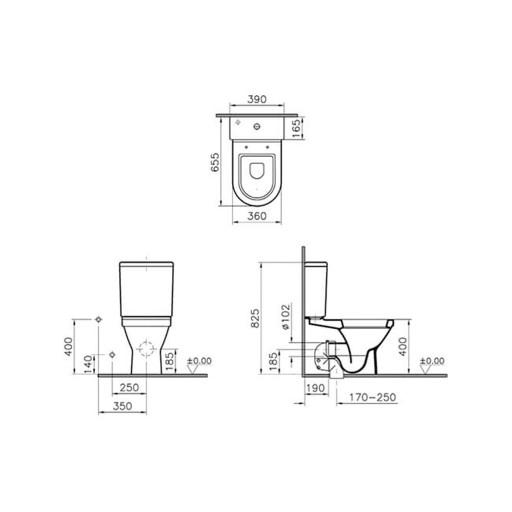 VitrA S50 Close Coupled Toilet - Closed Back
