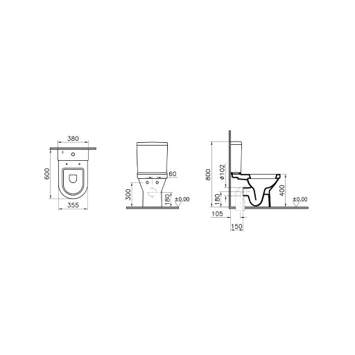 VitrA S50 Compact Close Coupled Toilet - Closed Back
