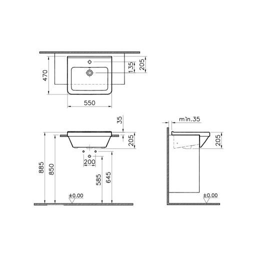 VitrA S50 Square Semi Rrecessed Basin - 550 mm